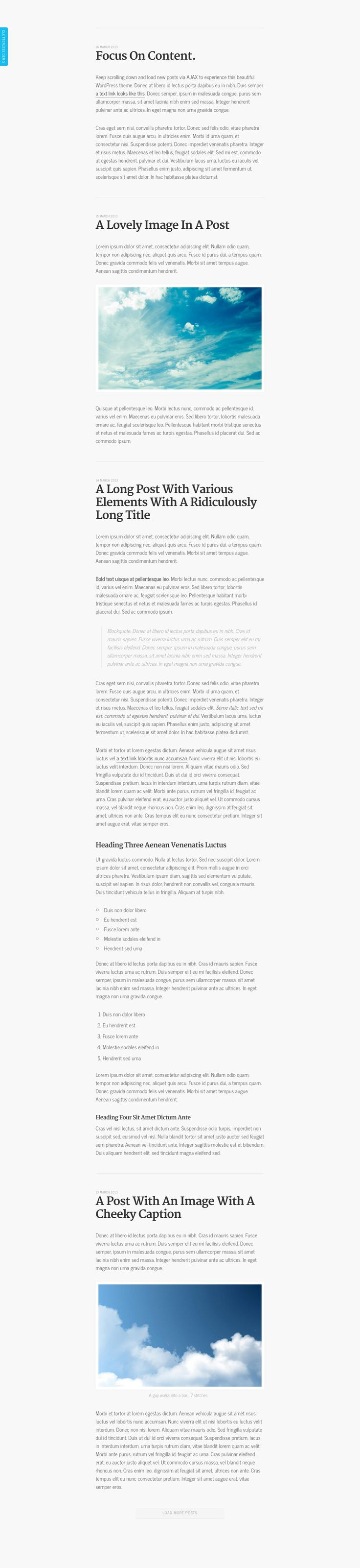 Clutterless is a minimal single-column free WordPress theme absolutely perfect for blogging.