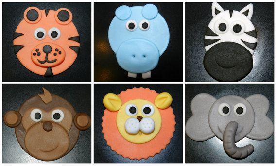 12 Safari Cupcake Toppers Edible Fondant Jungle Animals