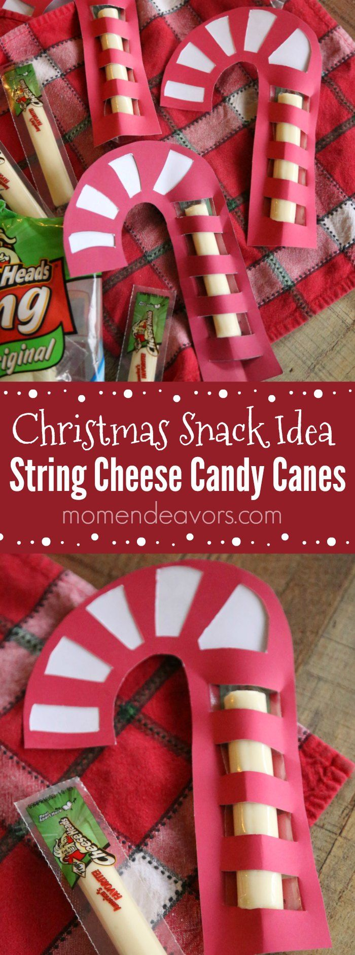 String Cheese Candy Canes - a healthier, cute Christmas snack that is full of protein instead of sugar! Free template download! AD