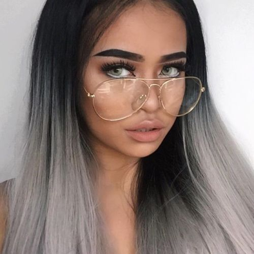 oversized big aviator clear lens metal frame eyeglasses glasses