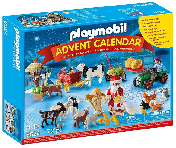 The Playmobil ' Christmas on the Farm' Advent Calendar contains twenty-four surprise items for each day leading up to Christmas Once all the pieces are revealed, create a festive animal gathering with Santa! Includes Santa figure, angel figure, and child figure, tractor, cats, dog, cows, sheep, goats, chicken with chicks, birds, trough, and lots of other accessories 4 Years + $49.99