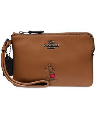 COACH Boxed Mickey Corner Zip Wristlet in Calf Leather | macys.com