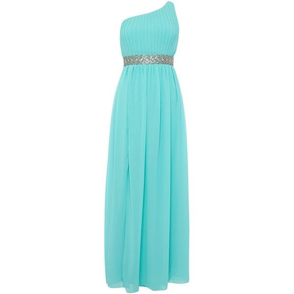 tfnc One Shoulder Embellished Waist Maxi Dress (£28) ❤ liked on Polyvore