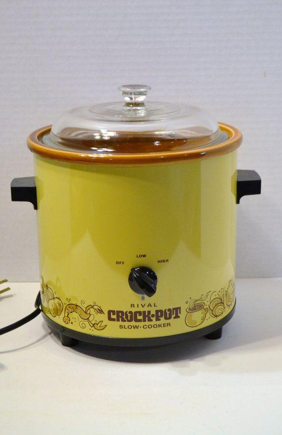 Vintage Rival Crock Pot Slow Cooker Harvest Gold, got mine in 1975!