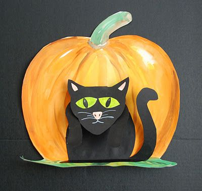Halloween Art Unit - 3D black cat - 2 week lesson...would have to make some templates for the kids.