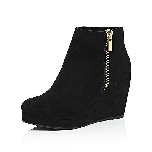 Black wedge ankle boots - wish these were real suede