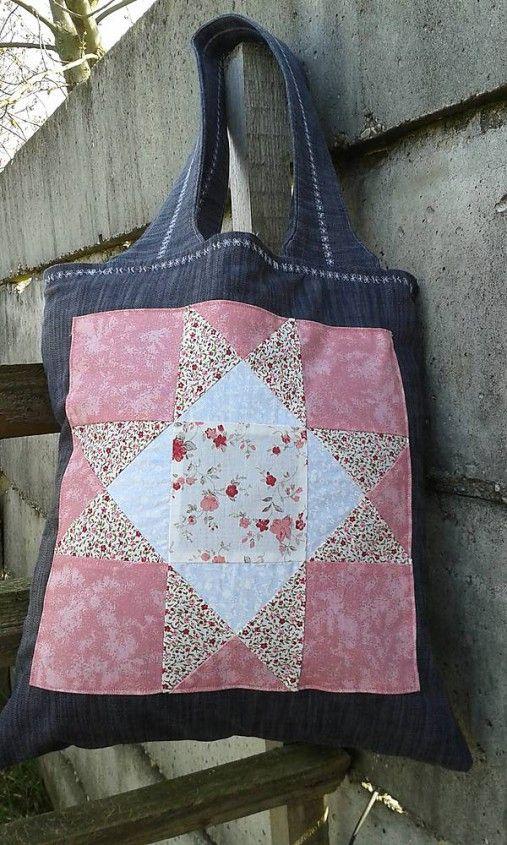 lienka97 / Nákupná taška s patchworkovou aplikáciou
