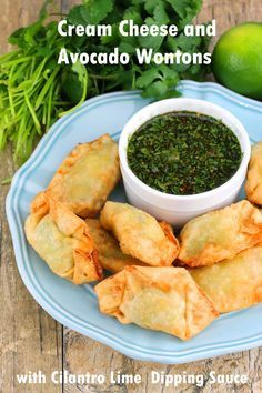 Cream Cheese and Avocado Wontons are made from scratch and fried. Serve them up with a side of cilantro-lime dipping sauce for a tasty party appetizer or game day food. I love parties because there are usually appetizers there. Miniature in size, but big in flavor, I love getting one or two bites of goodness....