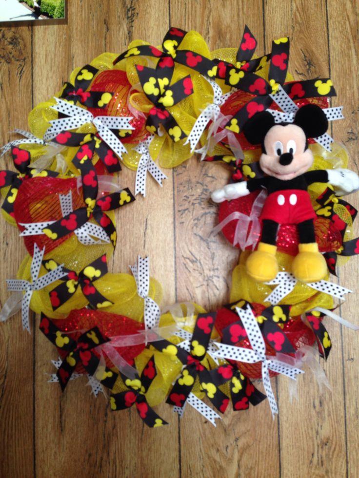 Disney Mickey Mouse Wreath Mesh Wreath Disney Vacation