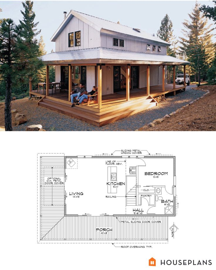 Modern farmhouse cabin floor plan and elevation.  1015sft Plan #452-3