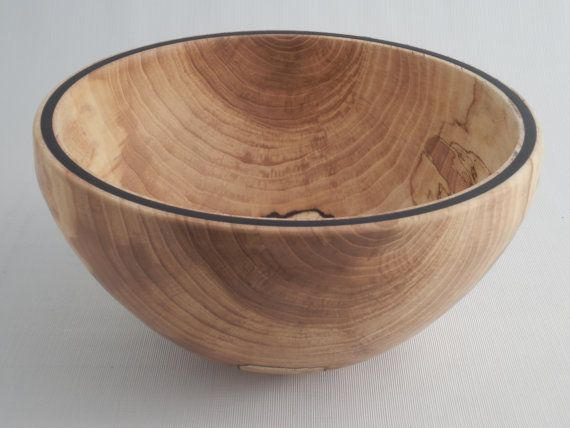wooden salad bowl wood fruit bowl spalted elm with black epoxy inlay hand turned - Wooden Salad Bowls