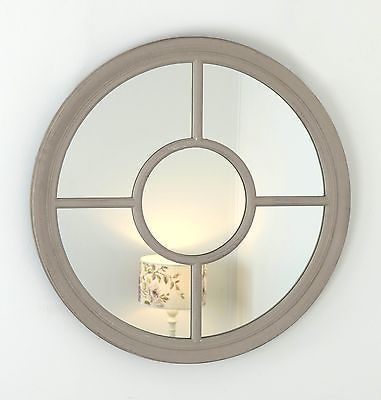 Rennes Taupe Shabby Chic Round Window Wall Mirror 36inch £85