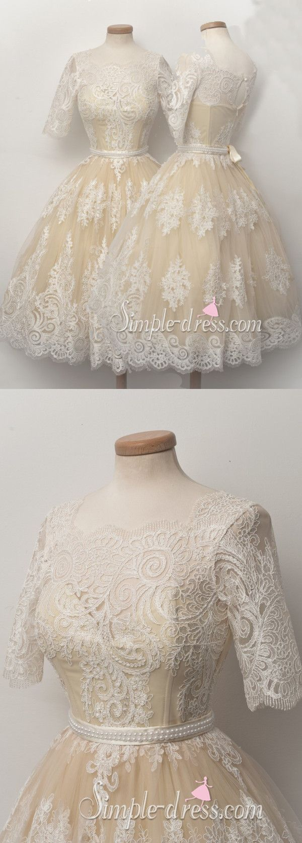 ivory short half-sleeves lace homecoming dress, lace homecoming dress, short homecoming dress, wedding dress, party dress, evening dress