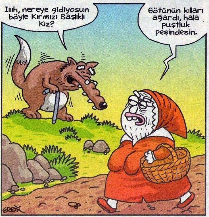 - Iıııh, nereye gidiyosun böyle Kırmızı Başlıklı Kız? + Götünün kılları ağardı, hala puştluk peşindesin. #karikatür #mizah