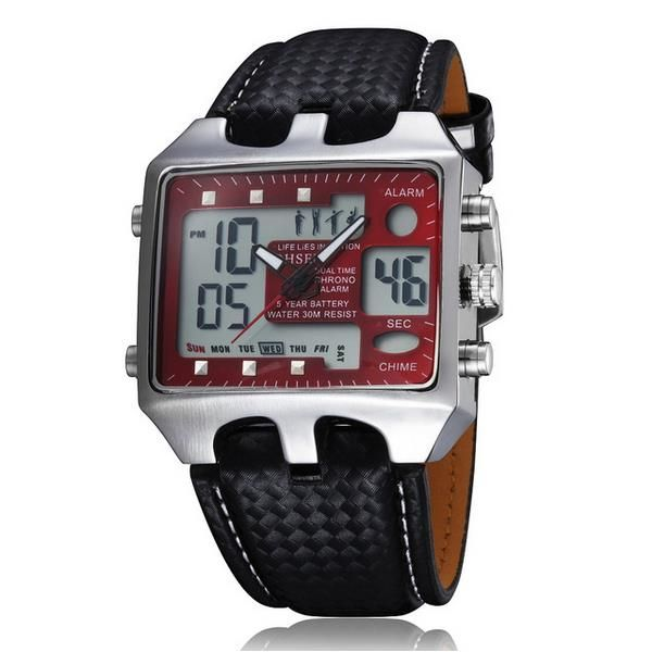OHSEN AD0930 Men Analog Digital PU Leather Fashion Wrist Watch at Banggood  men women fashion jewelry watches