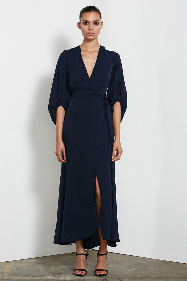 Shona Joy - Monique Long Sleeve Wrap Maxi Dress In Navy