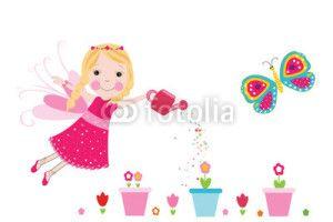 Peri Kızı Vektör Tasarımlarım * Fairy with colorful flowers vector