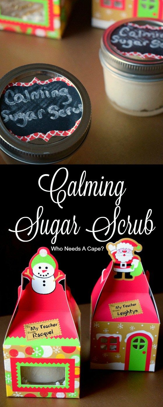 Need a gift for teachers or anyone that needs to relax? Make some EASY Calming Sugar Scrub! Fun gift for the kids to help with too. #ad #StimulateTheSenses