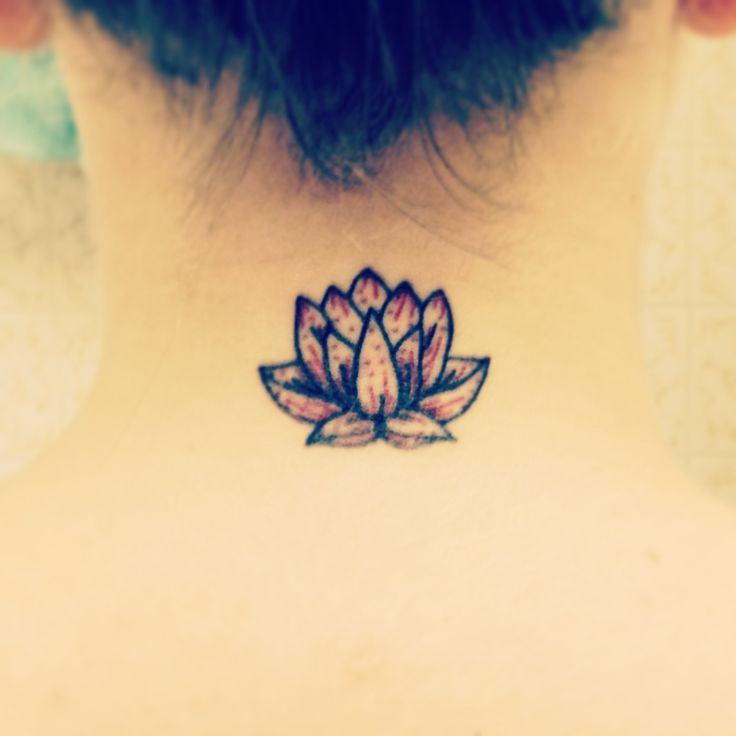 New small lotus neck tattoo red signifies love and for Small lotus tattoo