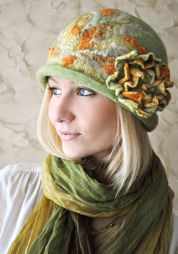 Handmade Felted Hat Spring ♡ by ShellenD on Etsy
