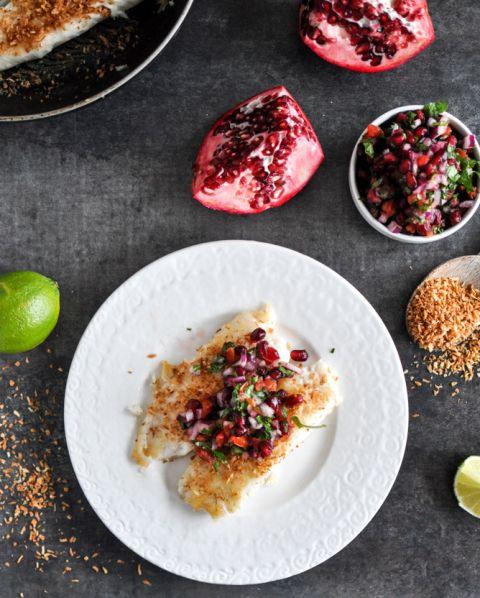 Toasted Coconut Tilapia with Pomegranate Salsa I howsweeteats.com