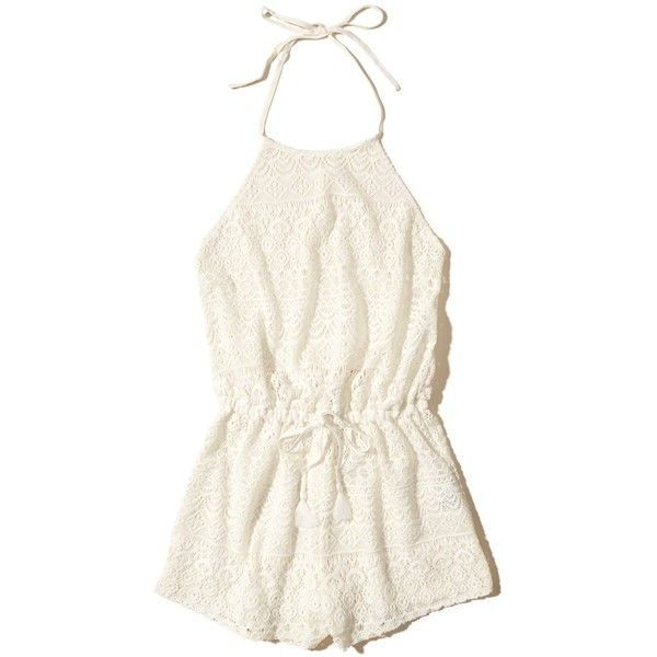 Hollister Lace Romper Swim Cover-Up ($35) ❤ liked on Polyvore featuring swimwear, cover-ups, white lace, high neck halter top, lace swim cover up, lace halter top, white cover up and white beach cover up
