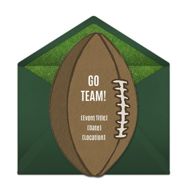 Free football party invitations! Playful football online invitations you can personalize and send via email. Great for inviting friends to watch the game.
