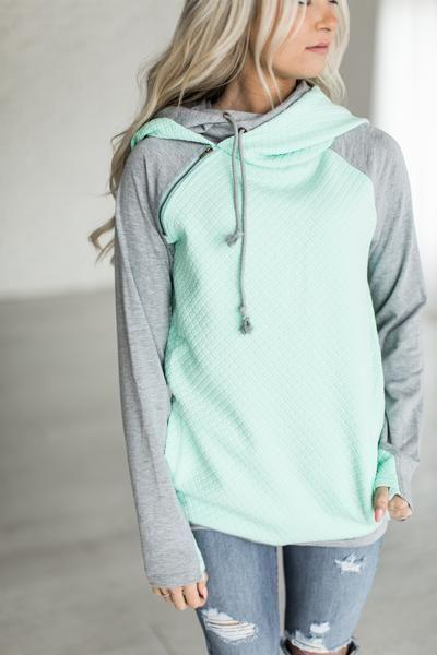 DoubleHood™ Sweatshirt - Quilted Mint