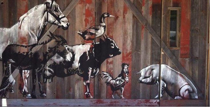 The Farmhouse, Evanston IL. with Peter Hurley. Acrylic on reused barn lumber #Art #Artist #Mural #Muralist #Fineart #Paint #Painter #Animalart #Animals #Farmart