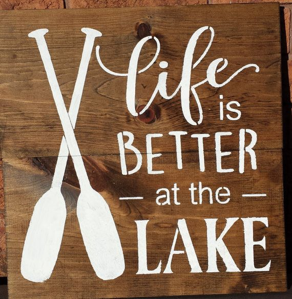 LAKE SIGN/COTTAGE Sign/Life Is Better At The by kimburcreations