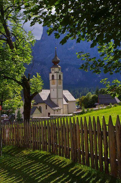 The alpine village of Colfosco, Val Badia / Italy