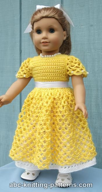"American Girl 18"" Doll Princess Dress FREE crochet pattern plus many others."