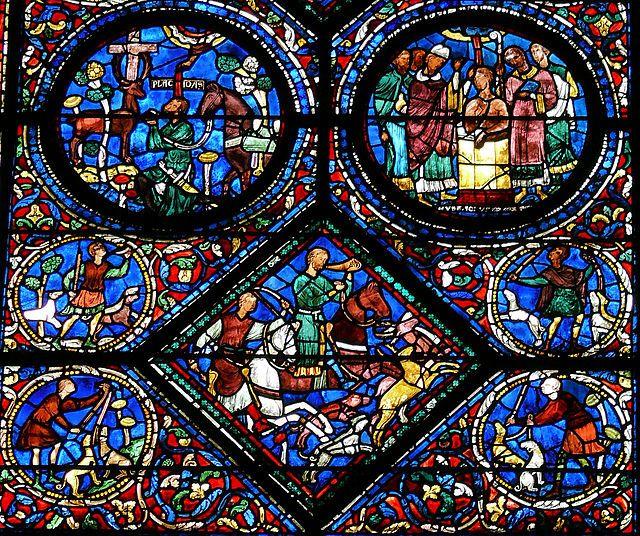 Chartres - Vitrail de la Vie de saint Eustache -2 - Vitrales de la catedral de Chartres - Wikipedia, la enciclopedia libre