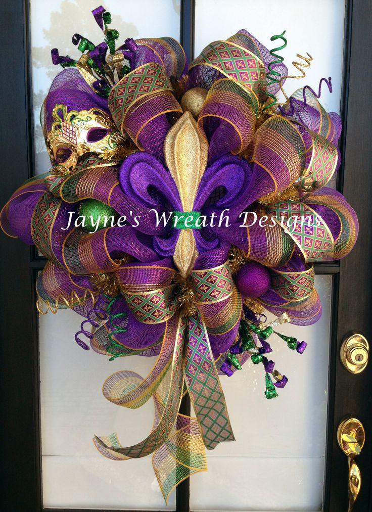 Mardi Gras deco mesh wreath with fleur de lis ribbon, mask, ornaments, and fleur de lis