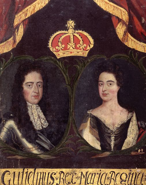 William and Mary, portrait possibly celebrating their coronation in 1689 as King William III and Queen Mary II, from the Guild Book of the B... 1689 - 1702