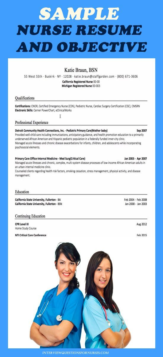 Resume Examples for Nursing Jobs - Registered Nurse Resume Sample