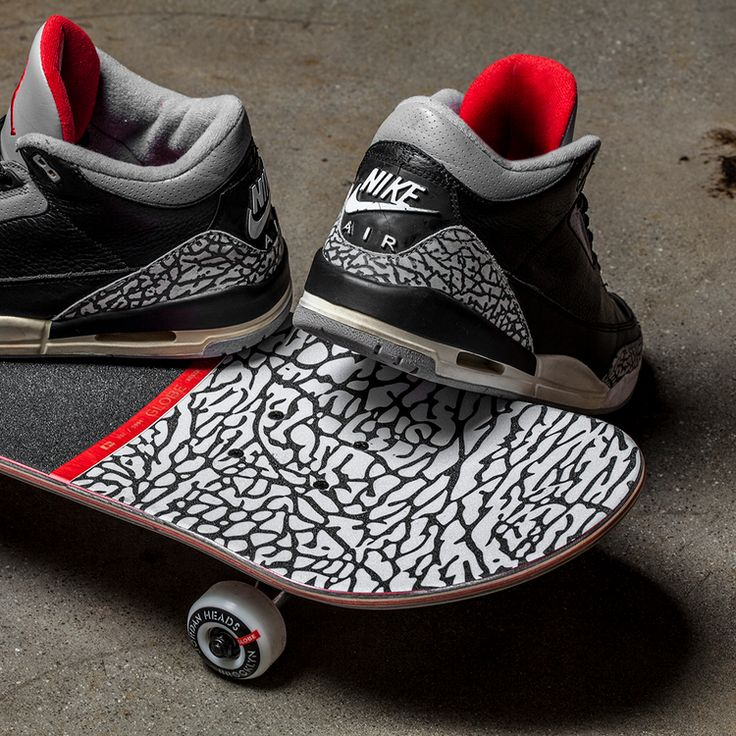 Check Out This Dope Air Jordan 3 Black Cement-Inspired Skateboard!
