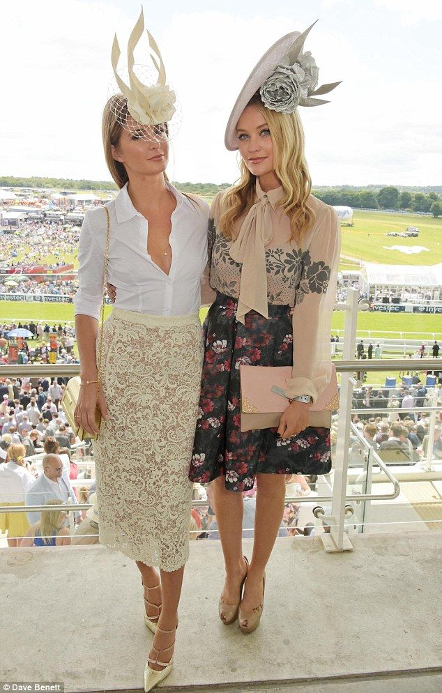 Contrast: Millie opted for demure white and cream while Laura chose more bold prints and colours
