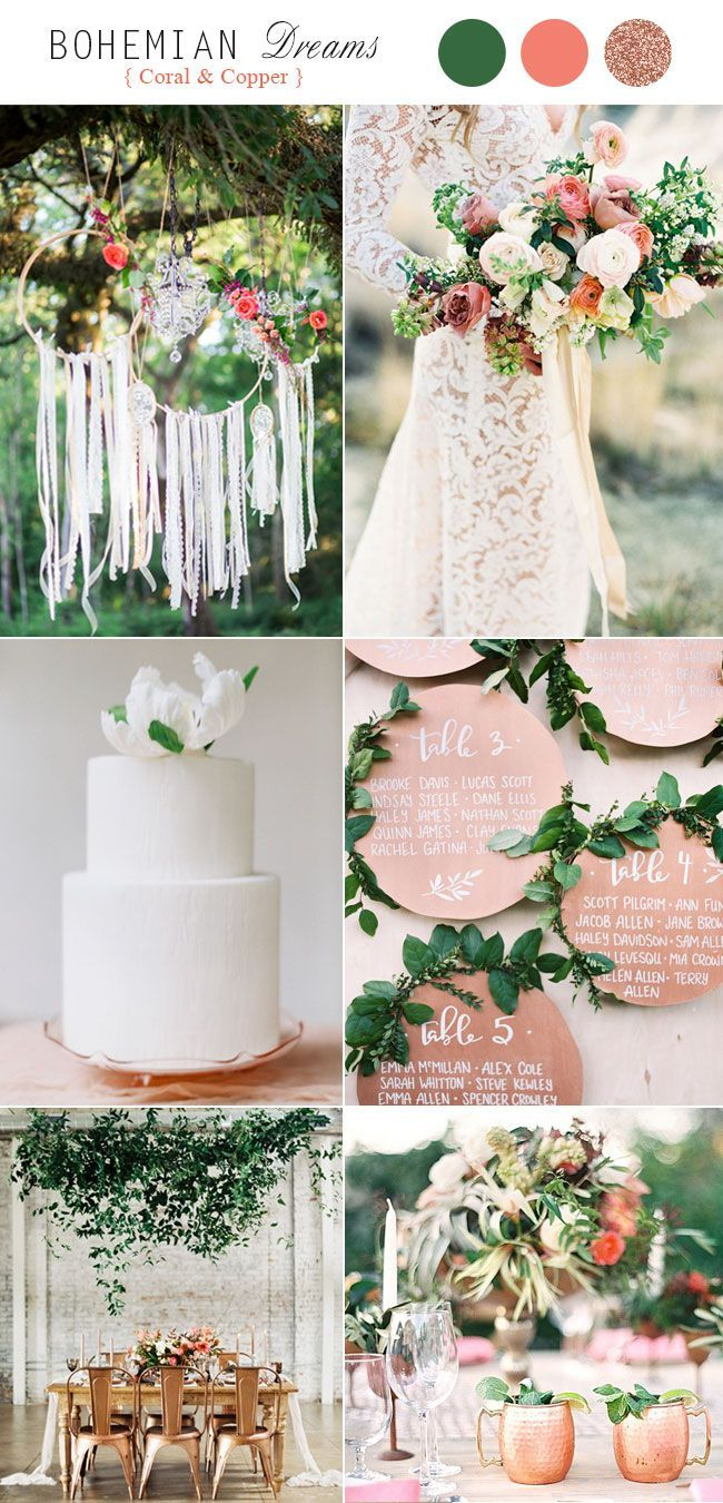 top 5 rustic bohemian chic wedding color palettes we love