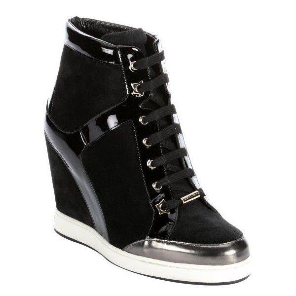 Jimmy Choo Black patent leather and suede 'Panama' wedge sneakers ($497) ❤ liked on Polyvore