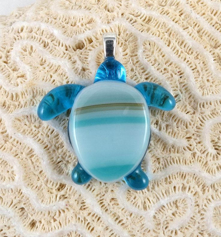 Sarah the turquoise blue fused glass sea turtle pendant by MemoriesOfMichigan on Etsy