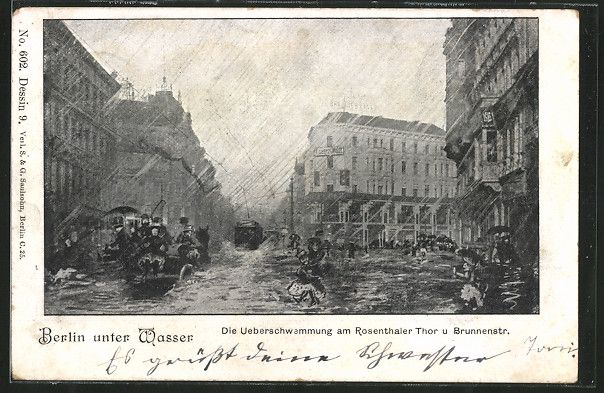 AK Berlin, die Überschwemmung am Rosenthaler Tor und Brunnenstraße  gelaufen 1902
