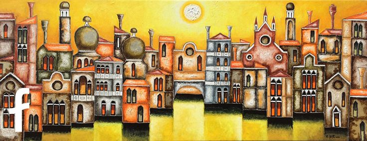Elio De Pasco olio su tela - artista contemporaneo paesaggi trieste fluidofiume