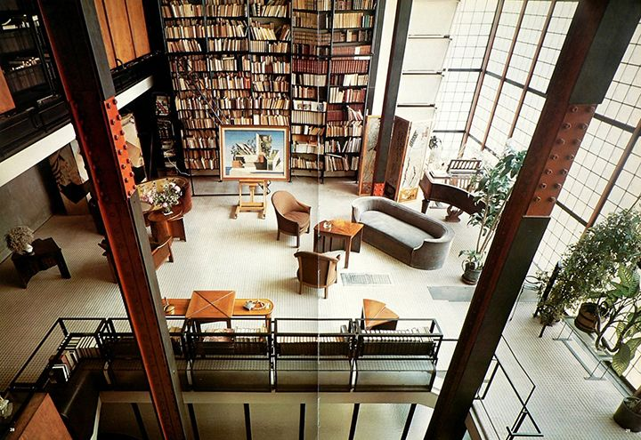 "Designed by Pierre Chareau and Bernard Bijvoet, the Maison de Verre translated as ""House of Glass,"" is a milestone in early modern architectural design. Built in 1932, the house uses various industrial and mechanical fixtures juxtaposed with a traditional style of home furnishings all under the transparency and lightness of the façade."