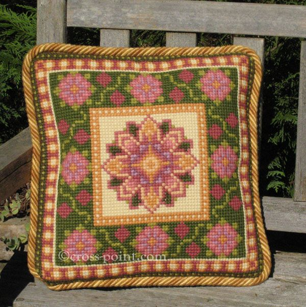 Small Moghul Suzani pattern in rose, mauve pink, grass green, buttery yellow (#MOGSM-02) - cross-point TM pillow kit for stitching