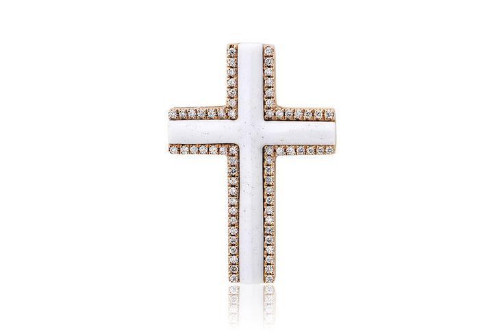 Σταυρός με διαμάντια μπριγιάν κοπής 0,30CT και λευκό ακρυλικό 3,00CT από ροζ χρυσό 18Κ. Cross with brilliant cut diamonds 0,30CT and white acrylic 3,00CT made by 18K rose gold. Price : 900€