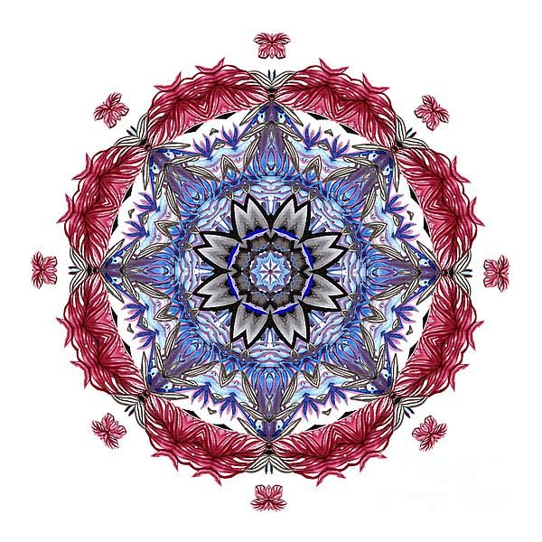 A pretty tropical mandala of peace and happiness in red and blue. #Tropical Mandala by #Kaye_Menner #Photography Quality Prints Cards Products with a money-back guarantee at: https://kaye-menner.pixels.com/featured/tropical-mandala-by-kaye-menner-kaye-menner.html