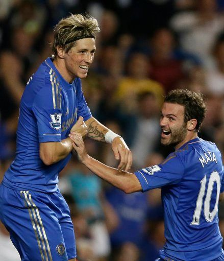 Fernando Torres celebrates scoring a goal with Juan Mata
