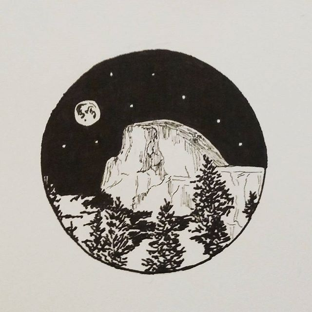 Practicing with ink only. #halfdome #ink #blackandwhite #sketch #linework…