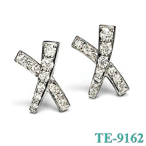 Tiffany and co Earrings Silver Diamond Cross jewelry Outlet